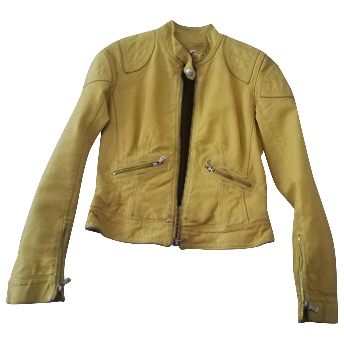 Dolce & Gabbana - Veste   pour femme en cuir - jaune