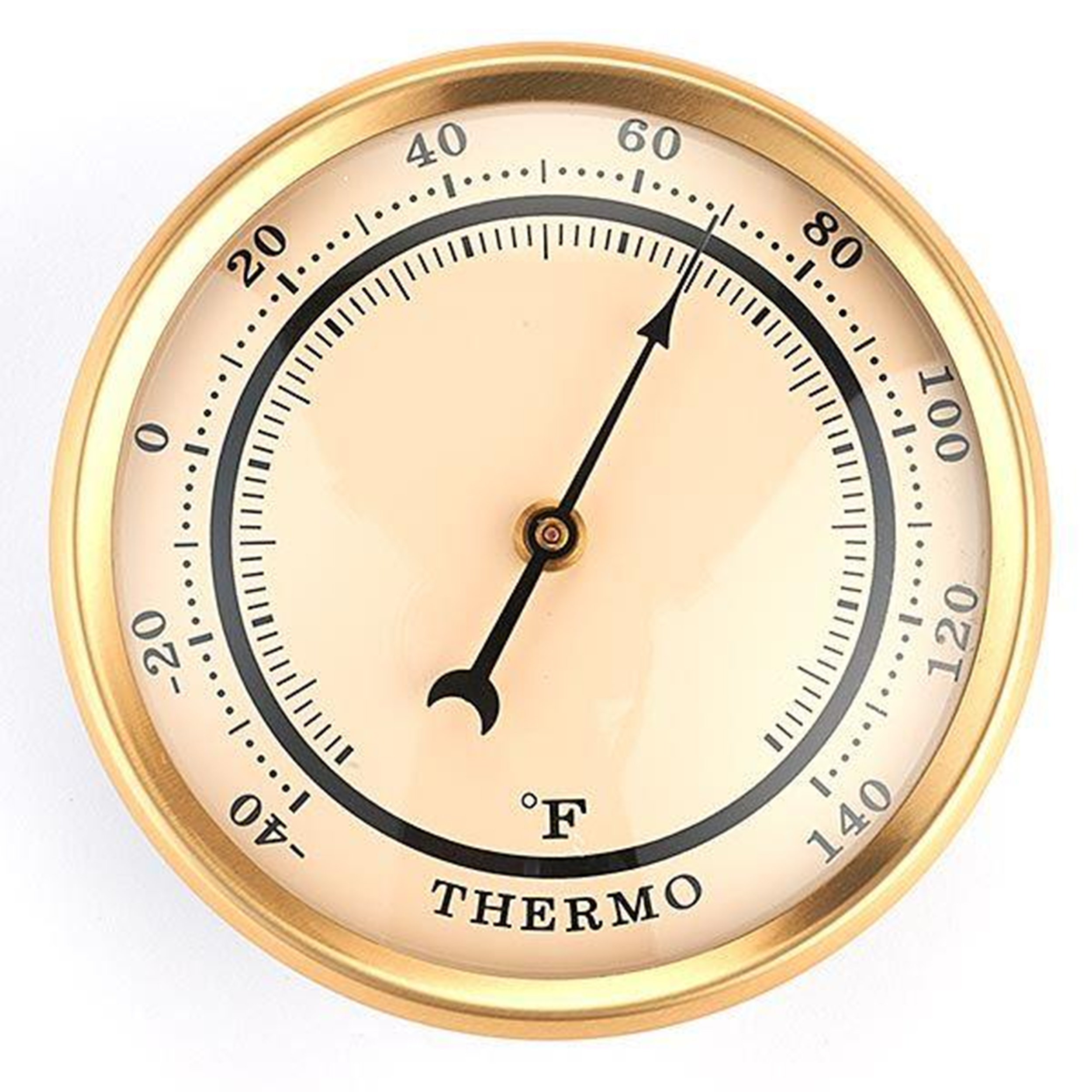 Thermometer w/Ivory Dial and Brushed Gold Bezel