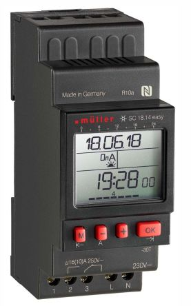 Muller 1 Channel Digital DIN Rail Time Switch Measures Days, Hours, Minutes, Seconds, 230 V ac