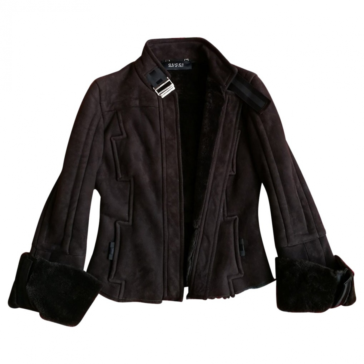 Gucci - Veste   pour femme en cuir - marron