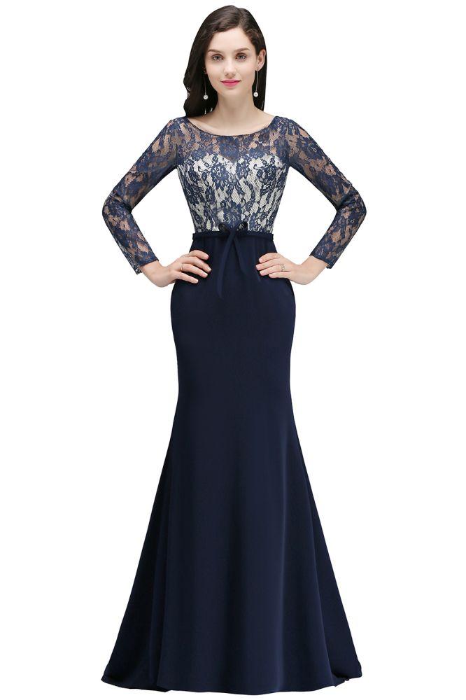 ALICE   Meerjungfrau Jewel Navy Blue Lace Lange Abendkleider mit Ärmel