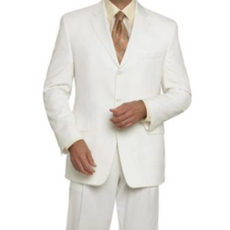 3Button Mens Off White Wool Suit