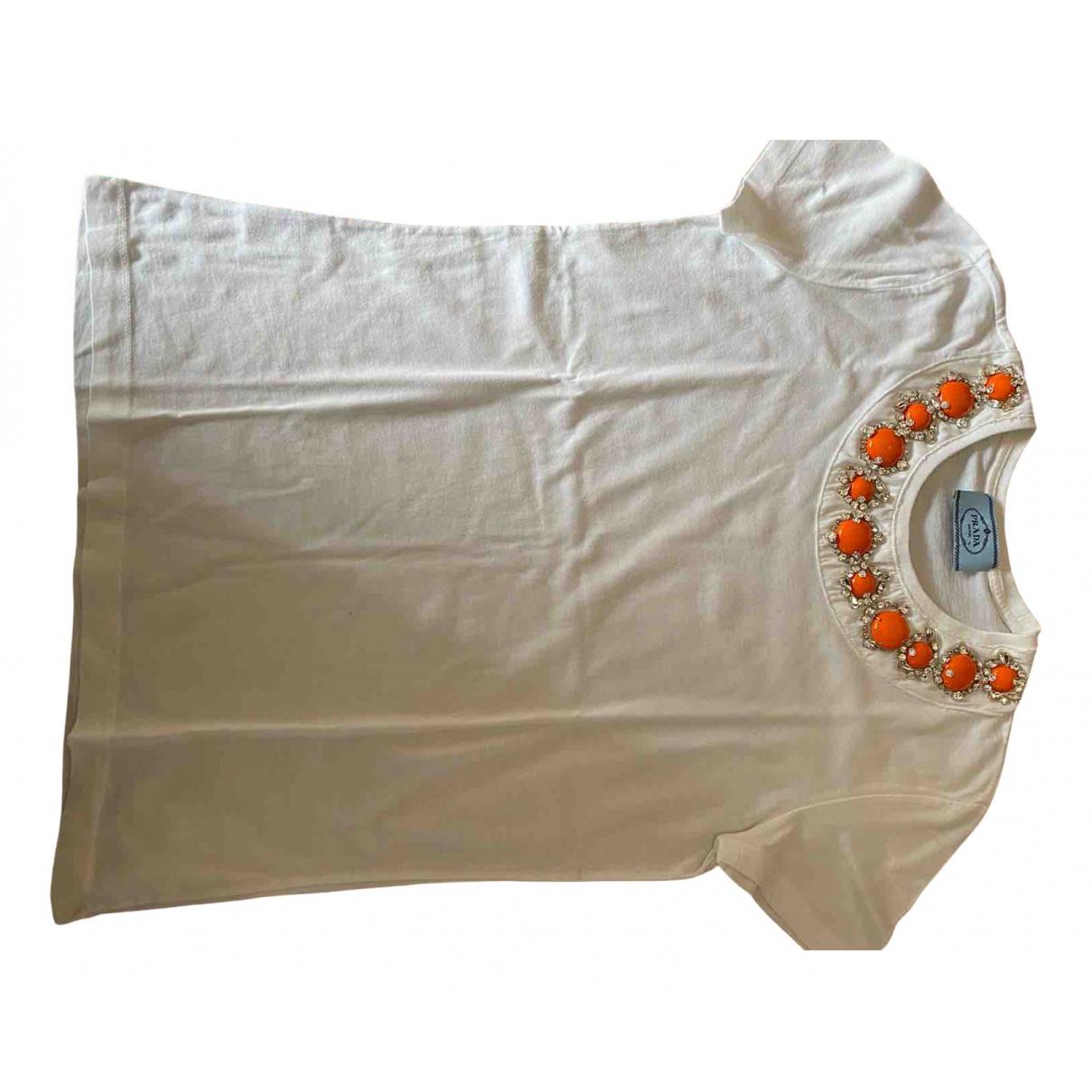 Prada - Top   pour femme en coton - blanc