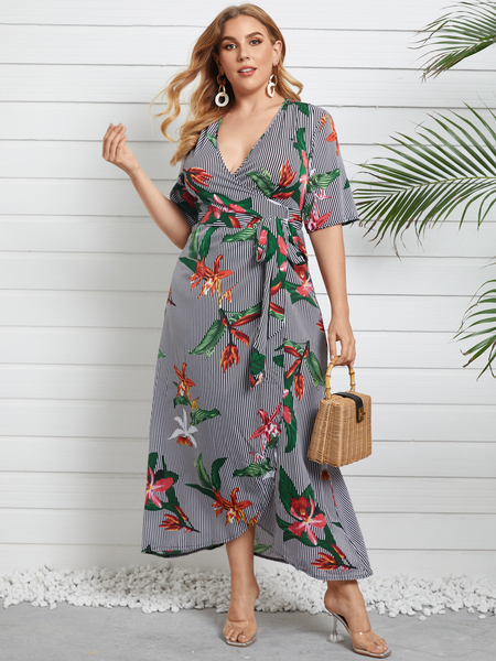 Yoins Plus Size Deep V Neck Striped Floral Print Belt Design Half Sleeves Maxi Dress