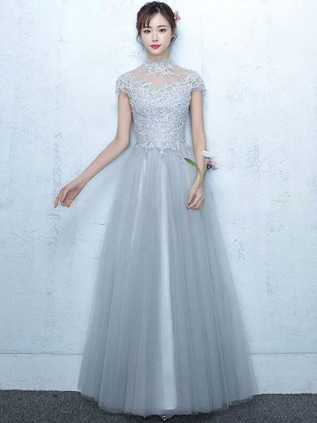 Milanoo Tulle Prom Dress Illusion Lace Applique Evening Dress Light Grey High Collar Short Sleeve A Line Floor Length Party Dress