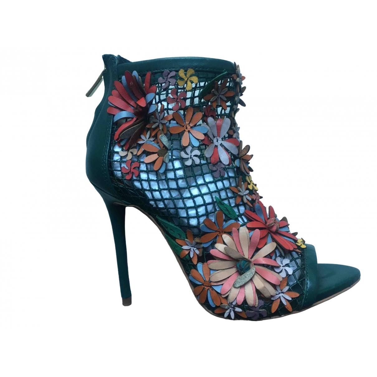 Zara - Boots   pour femme en cuir - vert