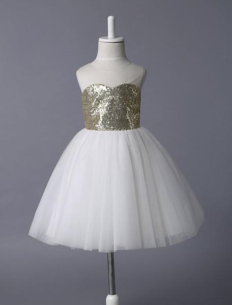 Milanoo Gold Sequin Sheer Sweetheart Neckline Flower Girl Dress
