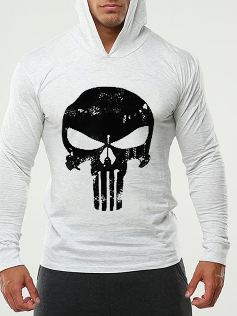 Ericdress Print Thin Skull Slim Mens Pullover Hoodies