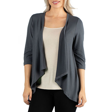 24/7 Comfort Apparel 3/4 Length Sleeve Open Cardigan, Small , Black
