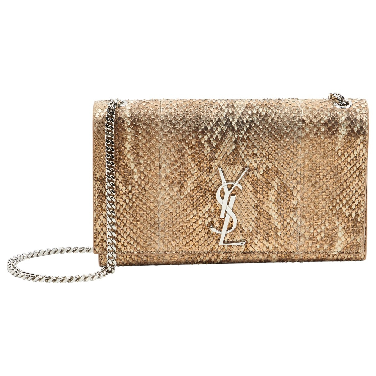 Saint Laurent Kate monogramme Gold Python handbag for Women \N