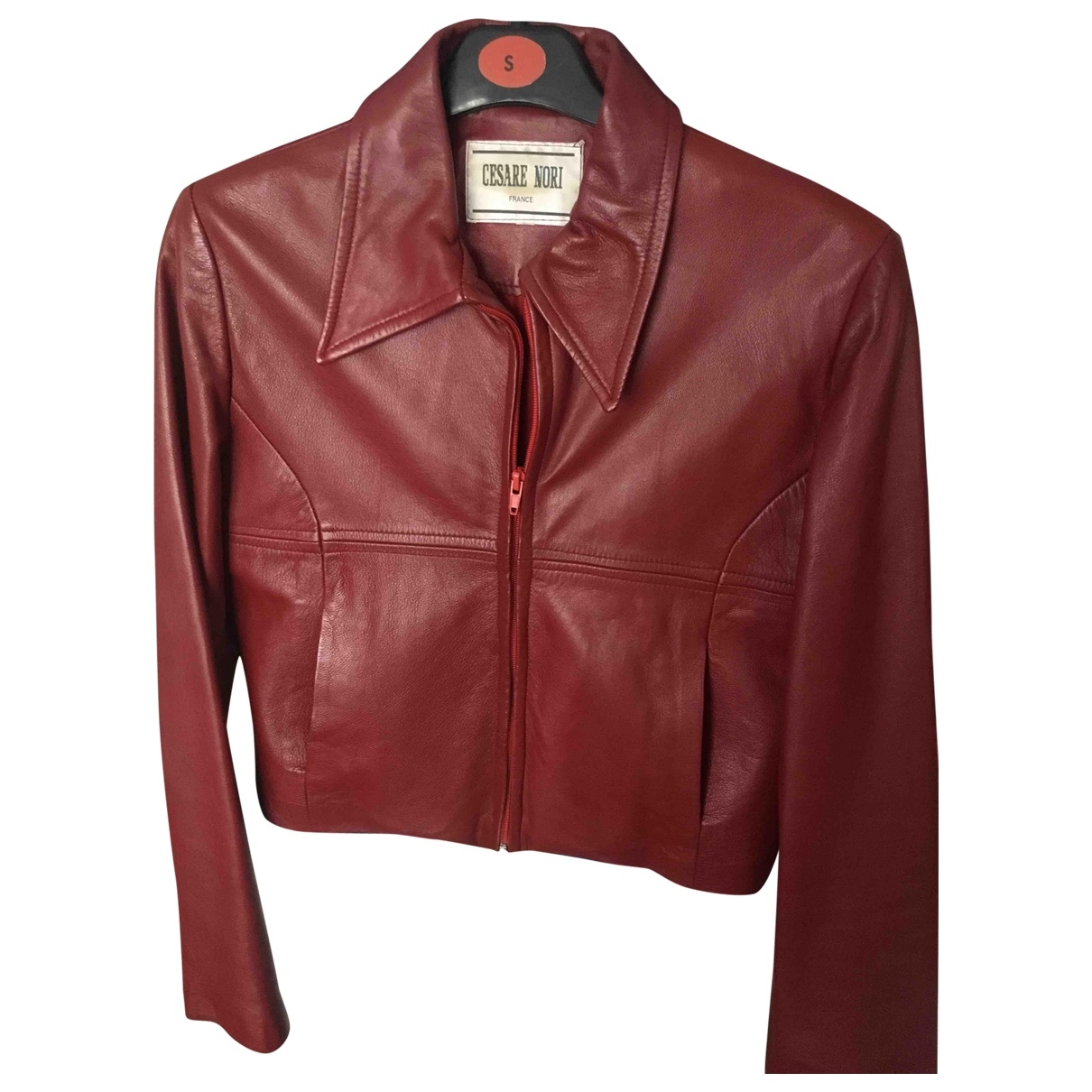 Non Signé / Unsigned \N Burgundy Leather Leather jacket for Women 38 FR