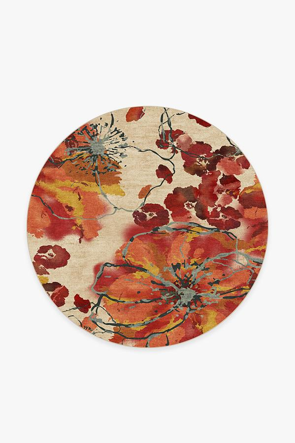 Washable Rug Cover   Watercolor Floral Coral Rug   Stain-Resistant   Ruggable   6' Round