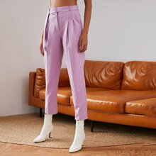 Double Crazy Fold Pleat Buckle Belted Tailored Pants