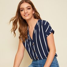 Striped Short Sleeve Button Top
