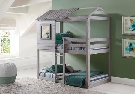 1370-TTLG Twin over Twin Deer Blind Bunk Loft Bed with Slats Included and Mattress Ready in Light
