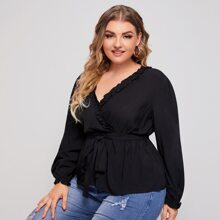 Plus Solid Frill Trim Belted Babydoll Blouse