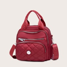 Quilted Backpack With Double Handle