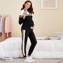 Umstandsmode Pullover mit Farbblock und Leopard Muster & Jogginghose Set mit Kontrast Ziernaht