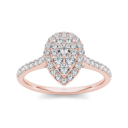3/4 CT. T.W. Diamond 10K Rose Gold Pear-Shaped Engagement Ring, 6 , No Color Family