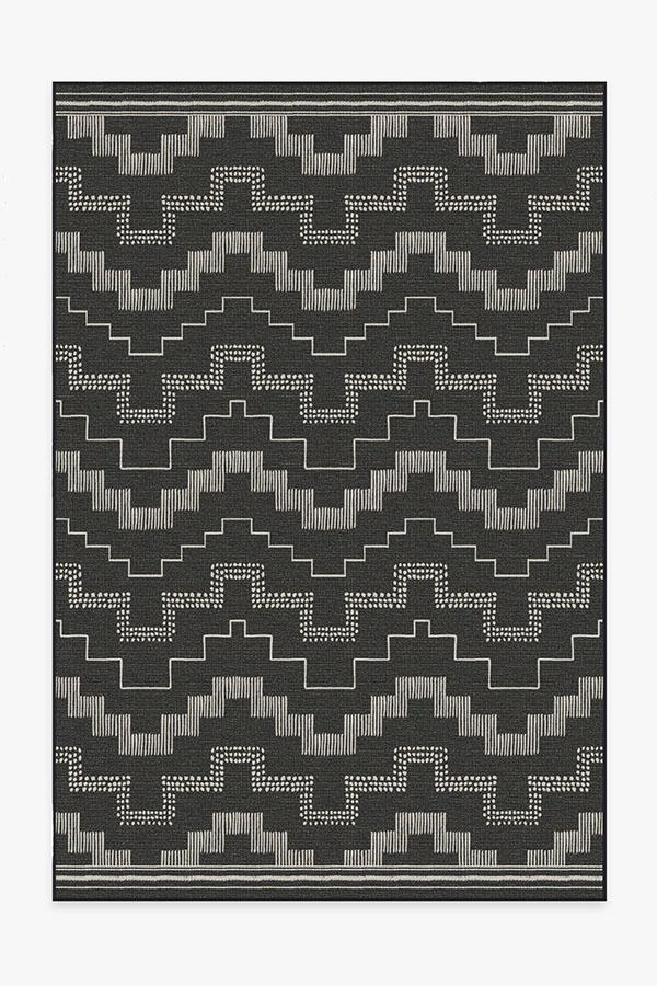 Washable Rug Cover | Outdoor Meseta Black Rug | Stain-Resistant | Ruggable | 6'x9'