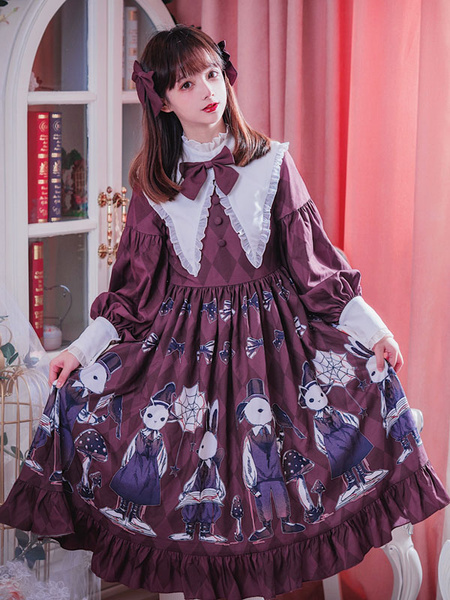 Milanoo Classic Lolita OP Dress Lace Ruffle Bow Print Burgundy Lolita One Piece Dress