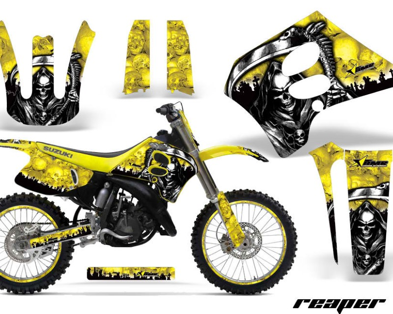 AMR Racing Graphics MX-NP-SUZ-RM125-93-95-RP Y Kit Decal Sticker Wrap + # Plates For Suzuki RM125 1993-1995áREAPER YELLOW