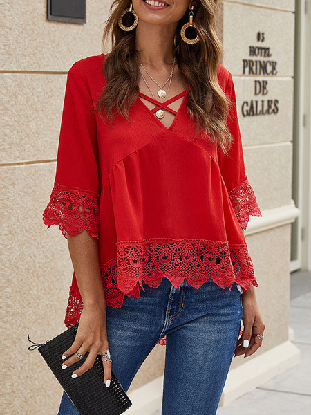 Milanoo Shirt For Women Red Polyester V-Neck Casual Cut Out Half Sleeves Tops