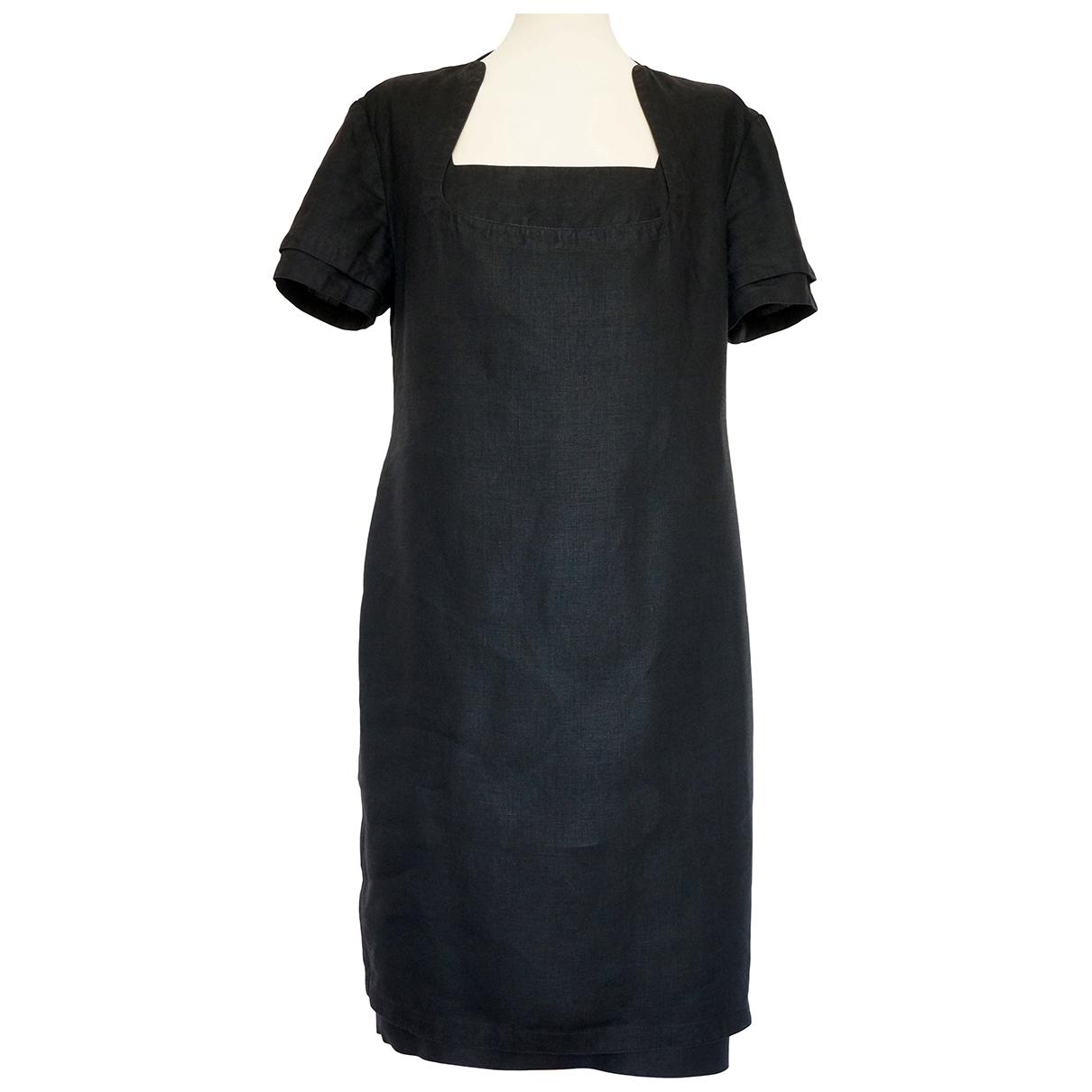 Gianni Versace \N Kleid in  Schwarz Leinen