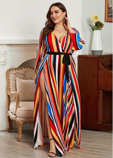 Rainbow Stripe Belted Plus Size Maxi Dress - 5XL