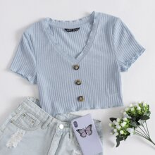 Lettuce Trim Buttoned Front Rib-knit Top