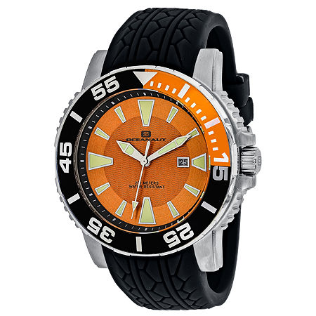 Oceanaut Mens Black Leather Strap Watch-Oc2915, One Size , No Color Family
