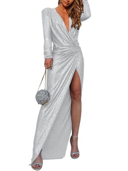 Milanoo Vestidos ajustados con cuello en V blanco plisado irregular irregular manga larga vestido de lapiz
