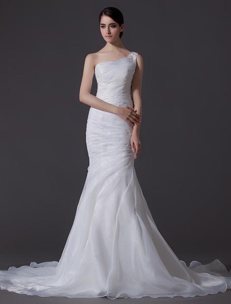 Milanoo Vestido de novia de organza de color marfil de un solo hombro