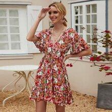 Allover Floral Ruffle Hem A-line Dress