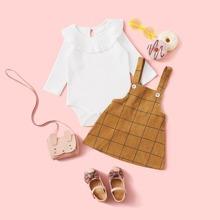 Baby Maedchen Strick Romper mit Raffung und Kord Kleid mit Karo Muster