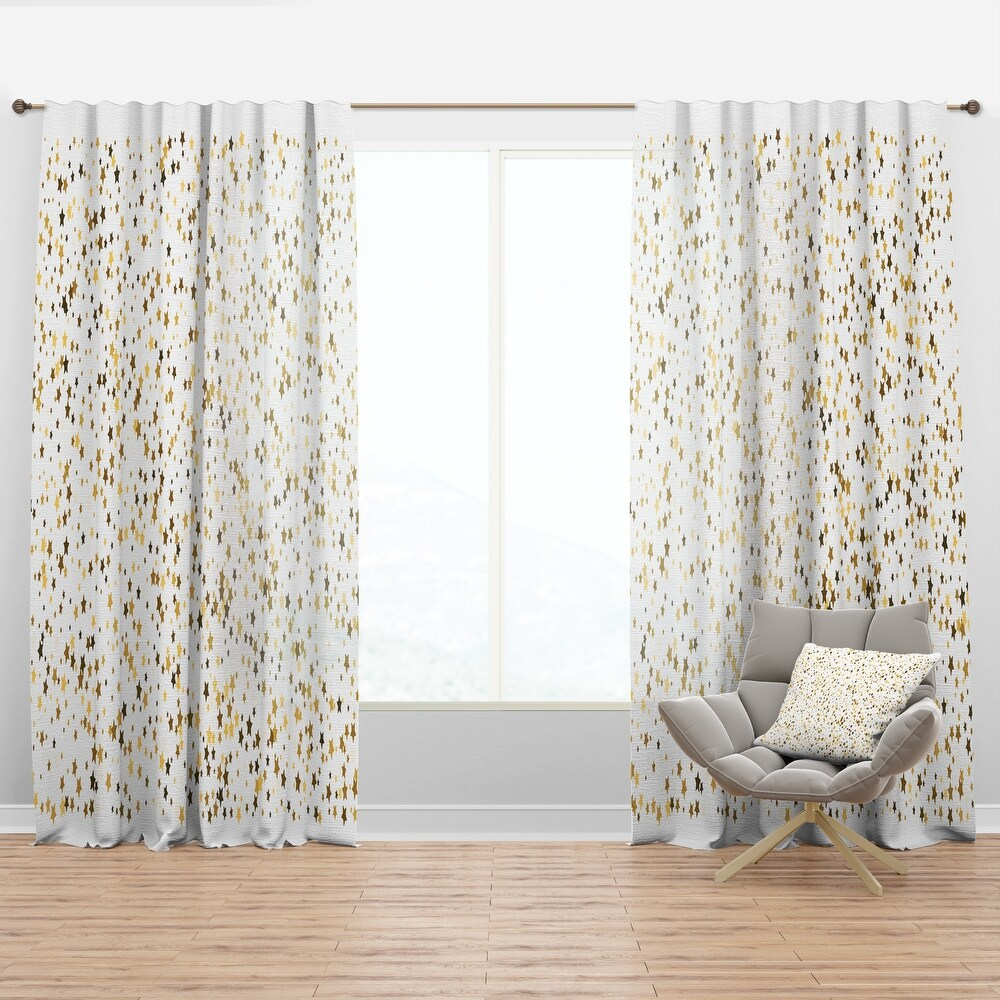 Designart Golden Glitter Confetti  Mid-Century Modern Curtain Panel (50 in. wide x 95 in. high - 1 Panel)