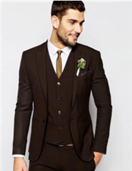 Mens Brown Suit Single Breasted