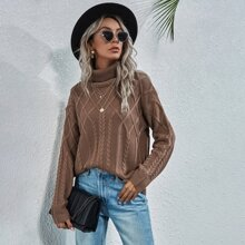 Turtleneck Cable Knit Sweater
