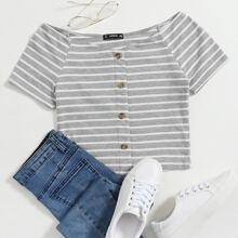 Button Front Rib-knit Striped Bardot Tee