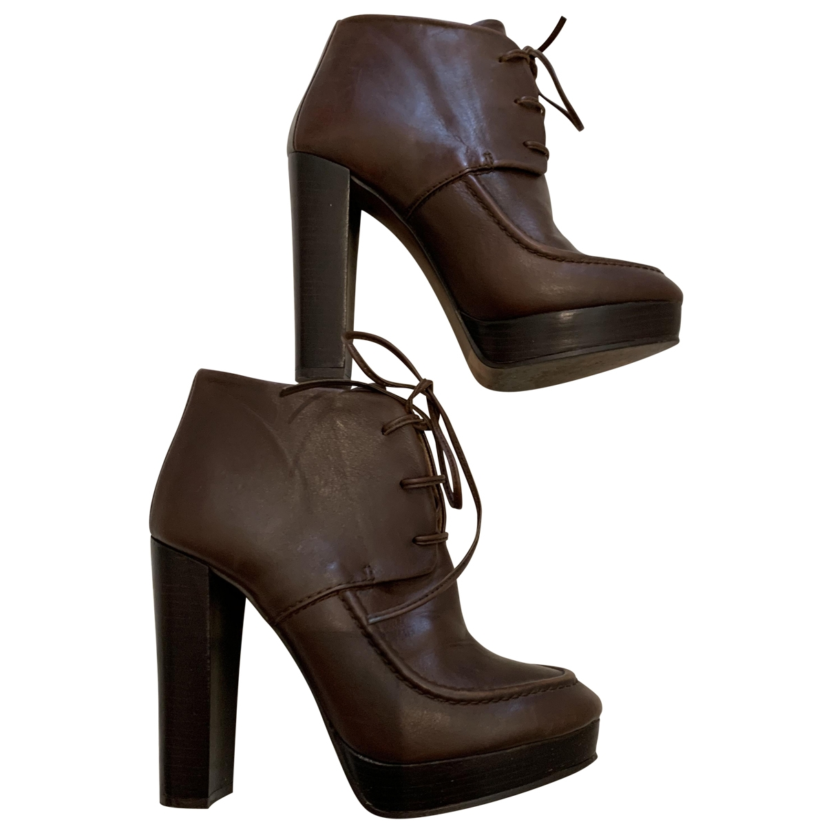 Zara \N Brown Leather Ankle boots for Women 37 EU
