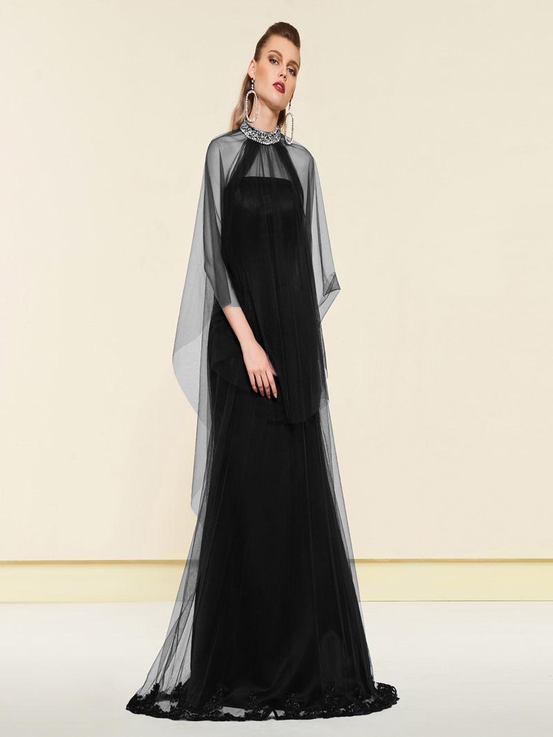 Ericdress A-Line Floor-Length Beaded Jewel Neck Evening Dress