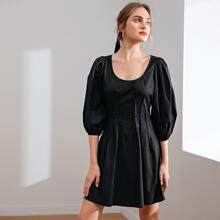 Lantern Sleeve Pleated Detail Solid Dress