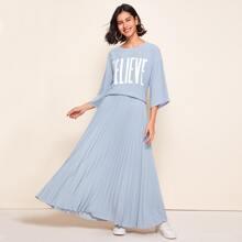 Drop Shoulder Letter Graphic Top & Pleated Skirt Set