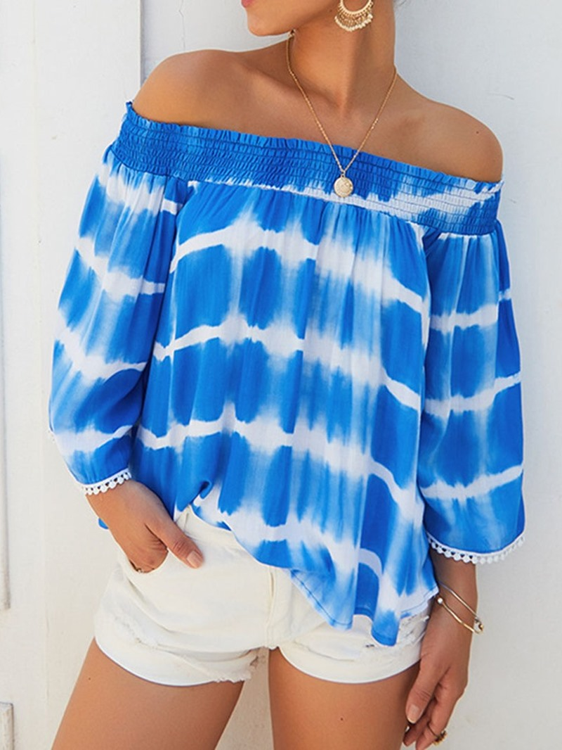Ericdress Off Shoulder Color Block Print Nine Points Sleeve Pleated Blouse