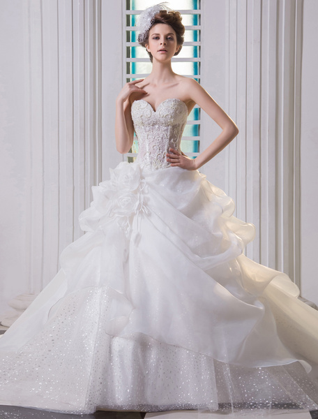 Milanoo Ivory Ball Gown Strapless Sweetheart Lace Organza Bridal Wedding Gown