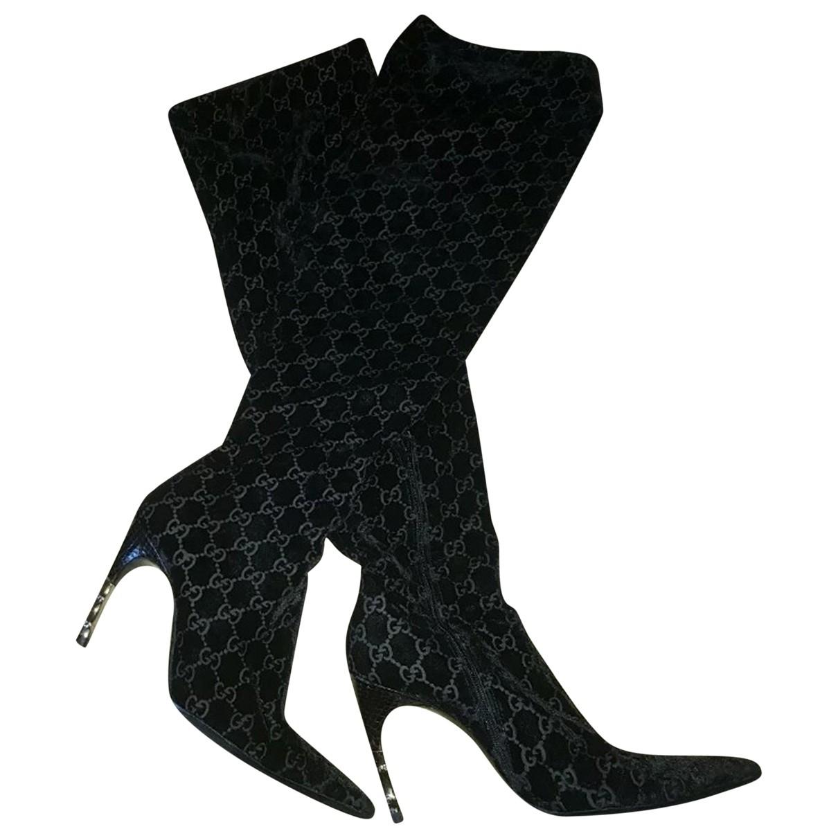 Gucci - Bottes   pour femme en velours - noir