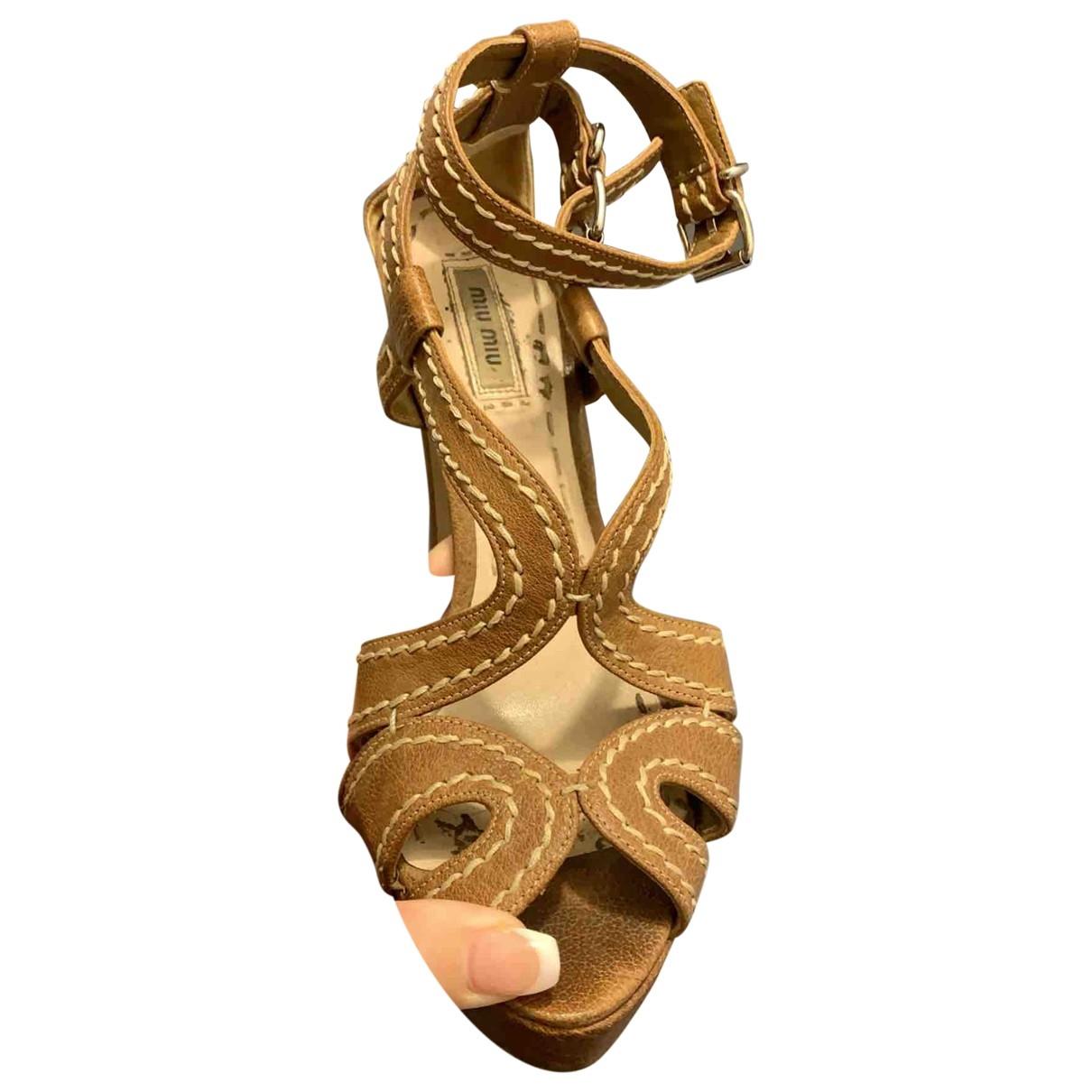 Miu Miu \N Beige Leather Sandals for Women 39 EU