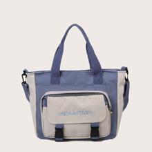 Release Buckle Decor Two Tone Satchel Bag