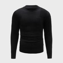 Men Pocket Front Solid Sweater