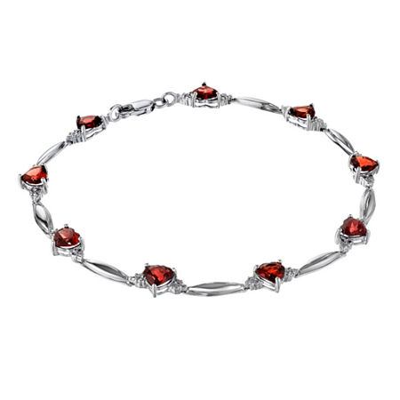 Genuine Garnet Heart-Shaped Sterling Silver Bracelet, One Size , No Color Family